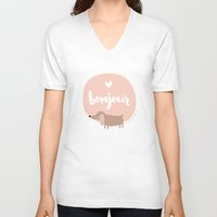 bonjour V-neck T-shirts featuring Bonjour! by Juice for Breakfast