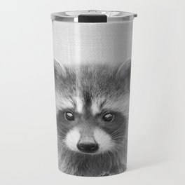 Raccoon - Black & White Travel Mug