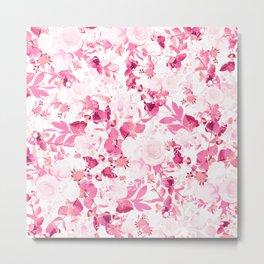 Elegant blush pink magenta watercolor flowers Metal Print