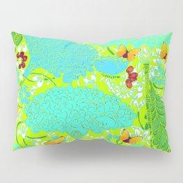 GOLD BUTTERFLIES BLUE-LIME FLORAL ART Pillow Sham