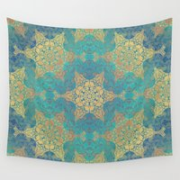 henna Wall Tapestries featuring Blue Henna by Truly Juel