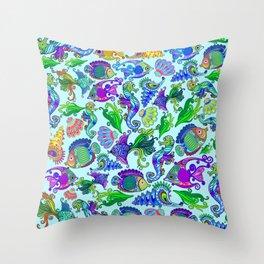 Marine Life Exotic Fishes & SeaHorses Ornamental Style Throw Pillow