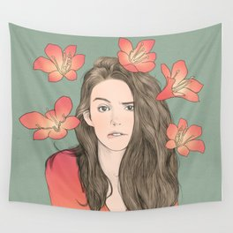 Girl with Flowers Wall Tapestry