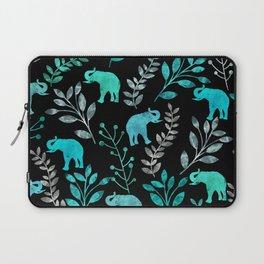 Watercolor Flowers & Elephants IV Laptop Sleeve