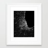 chicago map Framed Art Prints featuring Chicago map by Line Line Lines