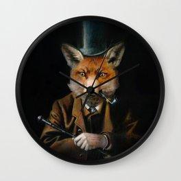 Victorian Fox In Top Hat Wall Clock