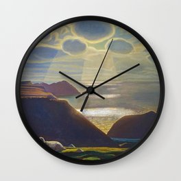 Rays of Sun off the Sea Cliffs Sturrall Donegal, Ireland by Rockwell Kent Wall Clock