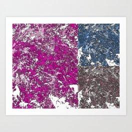 3 grunge paint stains texture Art Print