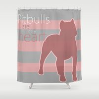 pitbull Shower Curtains featuring Pitbull heart by PaintedHearts