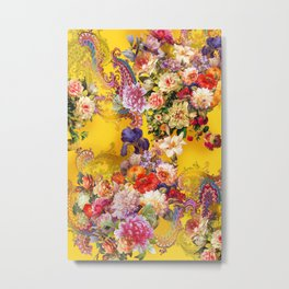 Seamless background with beautiful flowers and leaves. spring summer background Metal Print