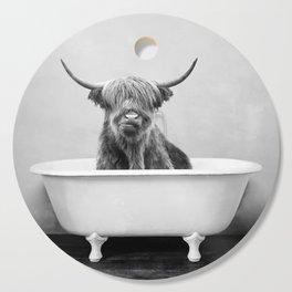 Highland Cow in a Vintage Bathtub (bw) Cutting Board