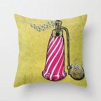 perfume Throw Pillows featuring Perfume by MR VELA