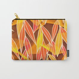 Bright Golden Orange Leaves Floral Print Carry-All Pouch