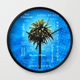 Long Beach, California - Palm Tree -  Pop Art Wall Clock
