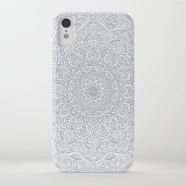 Most Detailed Mandala! Cool Gray White Color Intricate Detail Ethnic Mandalas Zentangle Maze Pattern iPhone Case