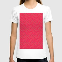 Stylish design with interlaced circles and pink rectangles of stripes. T-shirt
