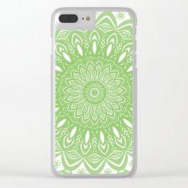 Light Lime Green Mandala Simple Minimal Minimalistic Clear iPhone Case