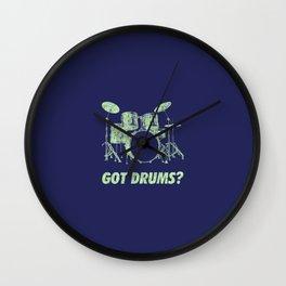 Got Drums Funny Drums Vintage Drummer Distressed Wall Clock