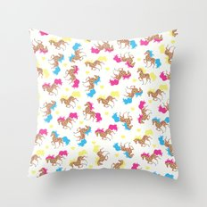 Retro horse pattern Throw Pillow