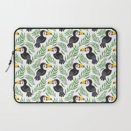 Watercolor green black yellow toucan bird floral Laptop Sleeve