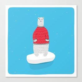 Standing Polar Bear in Sweater Canvas Print