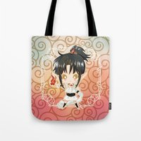chibi Tote Bags featuring Chibi Ashura by Neo Crystal Tokyo