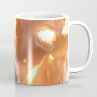 middle earth Mugs featuring Female Guardian of Middle Earth by Tom Lee