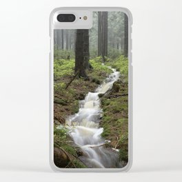 Mountains, forest, rain - water Clear iPhone Case