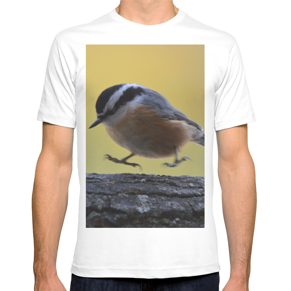 Red Breasted Nuthatch - Hopping Mad T-shirt by stuwillard (TSR797661) photo