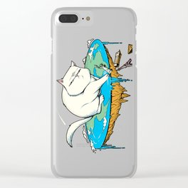 Flat Earth Cat Clear iPhone Case