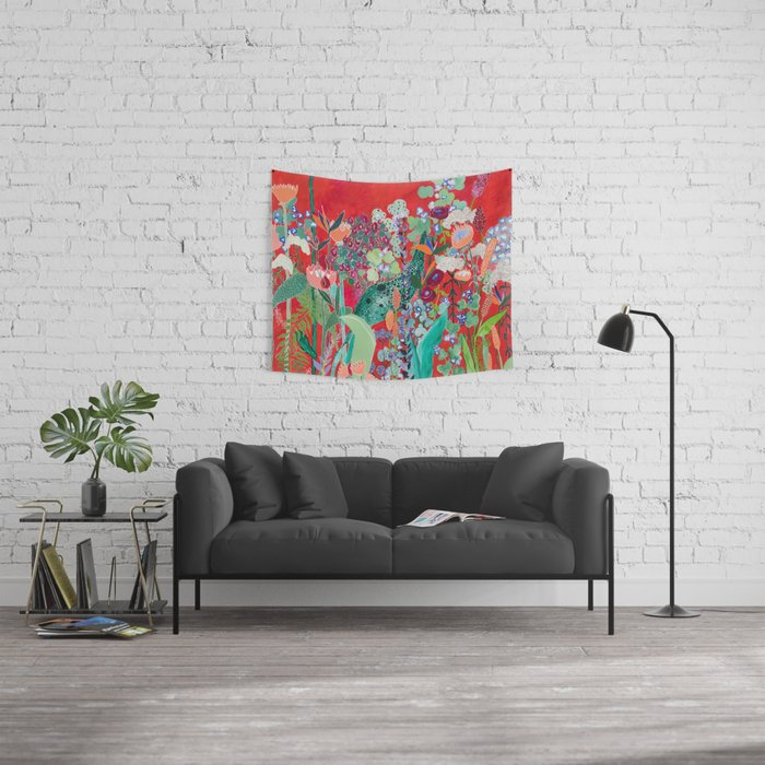 Floral Jungle on Red with Proteas, Eucalyptus and Birds of Paradise Wall Tapestry