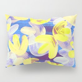 Acrylic Painting Layered Tulips Floral Pattern Yellow Blue White Pillow Sham