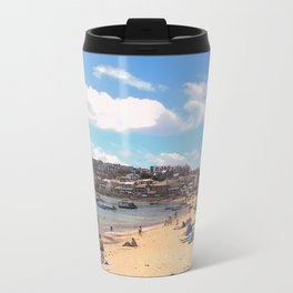 British Beach scene illustration, St Ives, English holiday resort Metal Travel Mug