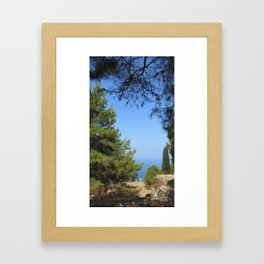 Pine tree, sea and sky landsape Framed Art Print