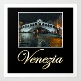 Venice Rialto Bridge Night Boat Art Painting Art Print