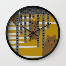 Bears hiding in the woods Wall Clock