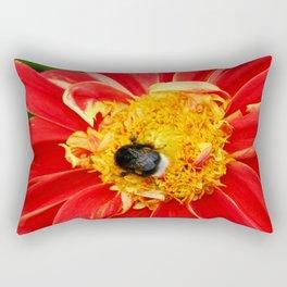 Bumble Bee On Dahlia Rectangular Pillow