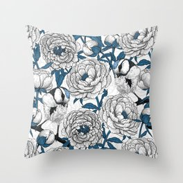 White peonies and blue tit birds Throw Pillow