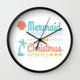 Mermaid Kisses and Christmas Wishes Wall Clock