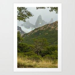 Tree and Mountain Art Print