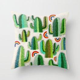 Cacti and Rainbows Throw Pillow