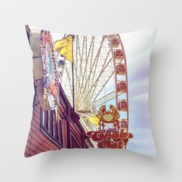 The Crab Pot and Seattle Great Wheel Throw Pillow