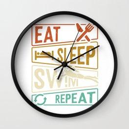 Eat Sleep Swim Repeat - Float Wall Clock