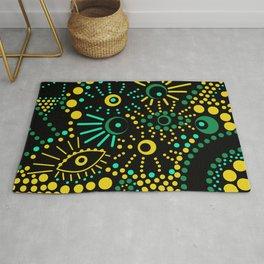 Abstract polka dots pattern . black ,green , yellow . Rug