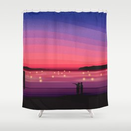 Memories of Texada Island - Orca coming into Shelter Point Shower Curtain