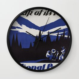 Vintage poster - National parks Wall Clock