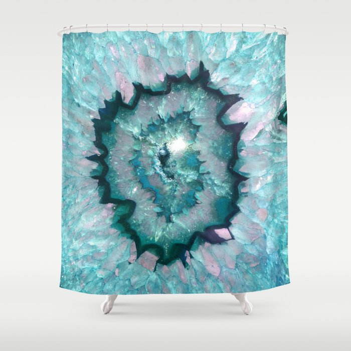 Teal Agate Shower Curtain By Thequarry