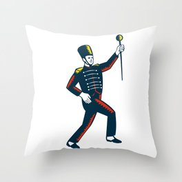 Drum Major Marching Band Leader Woodcut Throw Pillow