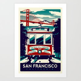 San Francisco Cable Car Trolley Golden Gate Bridge Retro Vintage Art Print