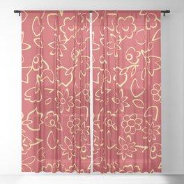 Simple Flowers Pattern 12 Sheer Curtain